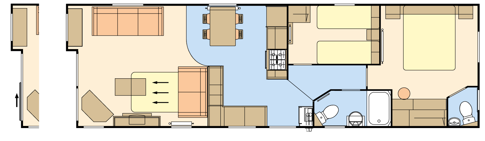38 × 12 – 2 bedroom/6 berth
