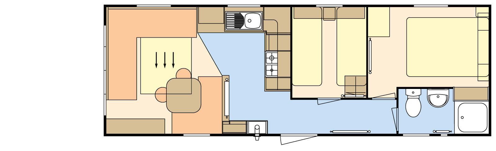 28 × 10 – 2 bedroom/6 berth