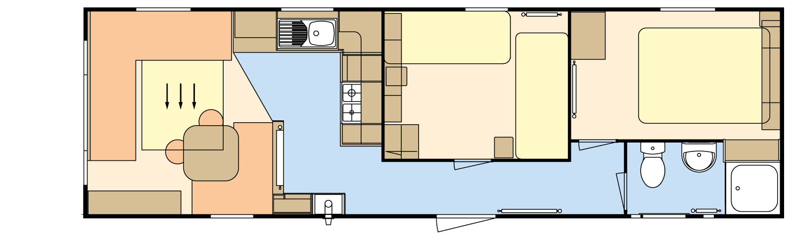 32 × 10 – 2 bedroom/6 berth
