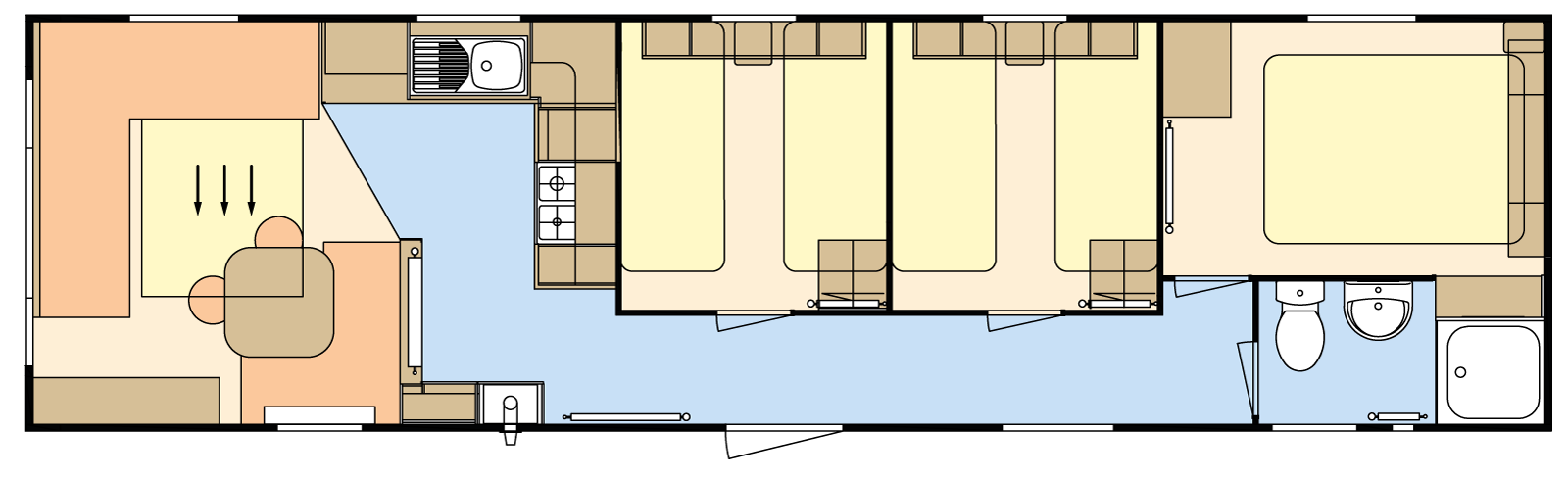 36 × 10 – 3 bedroom/8 berth