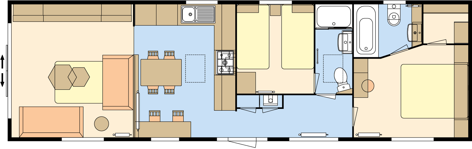43 × 13 – 2 bedroom/6 berth