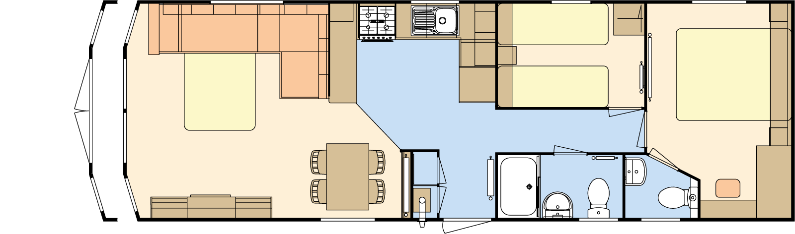 36 × 12 – 2 bedroom/6 berth