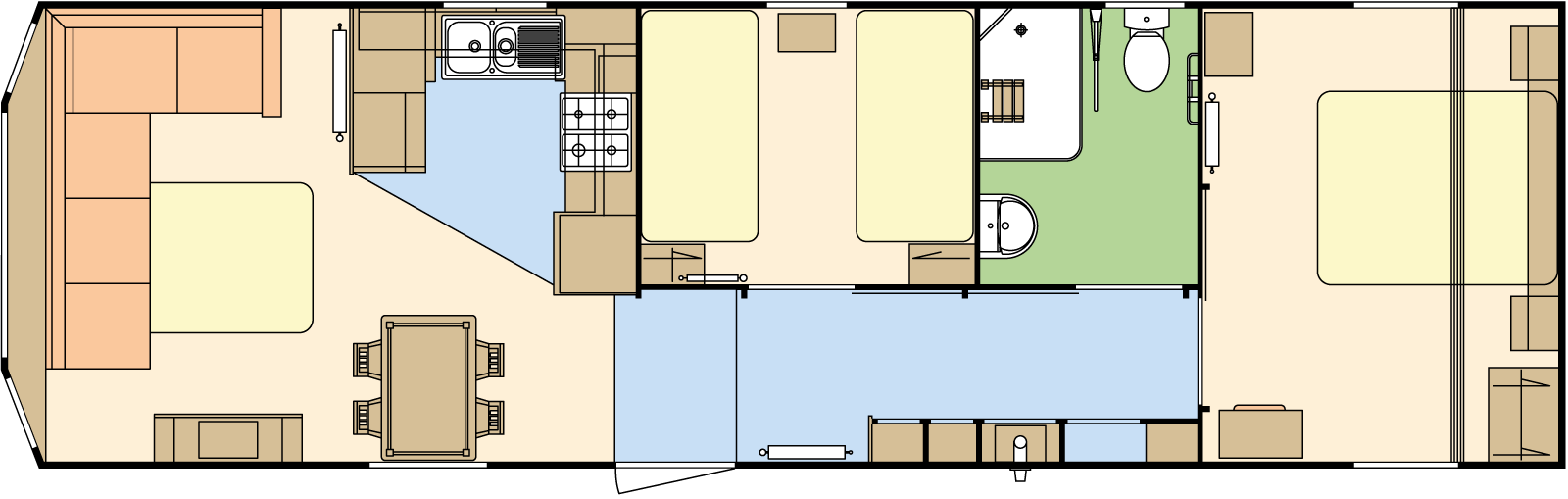 39 × 12 – 2 bedroom/6 berth