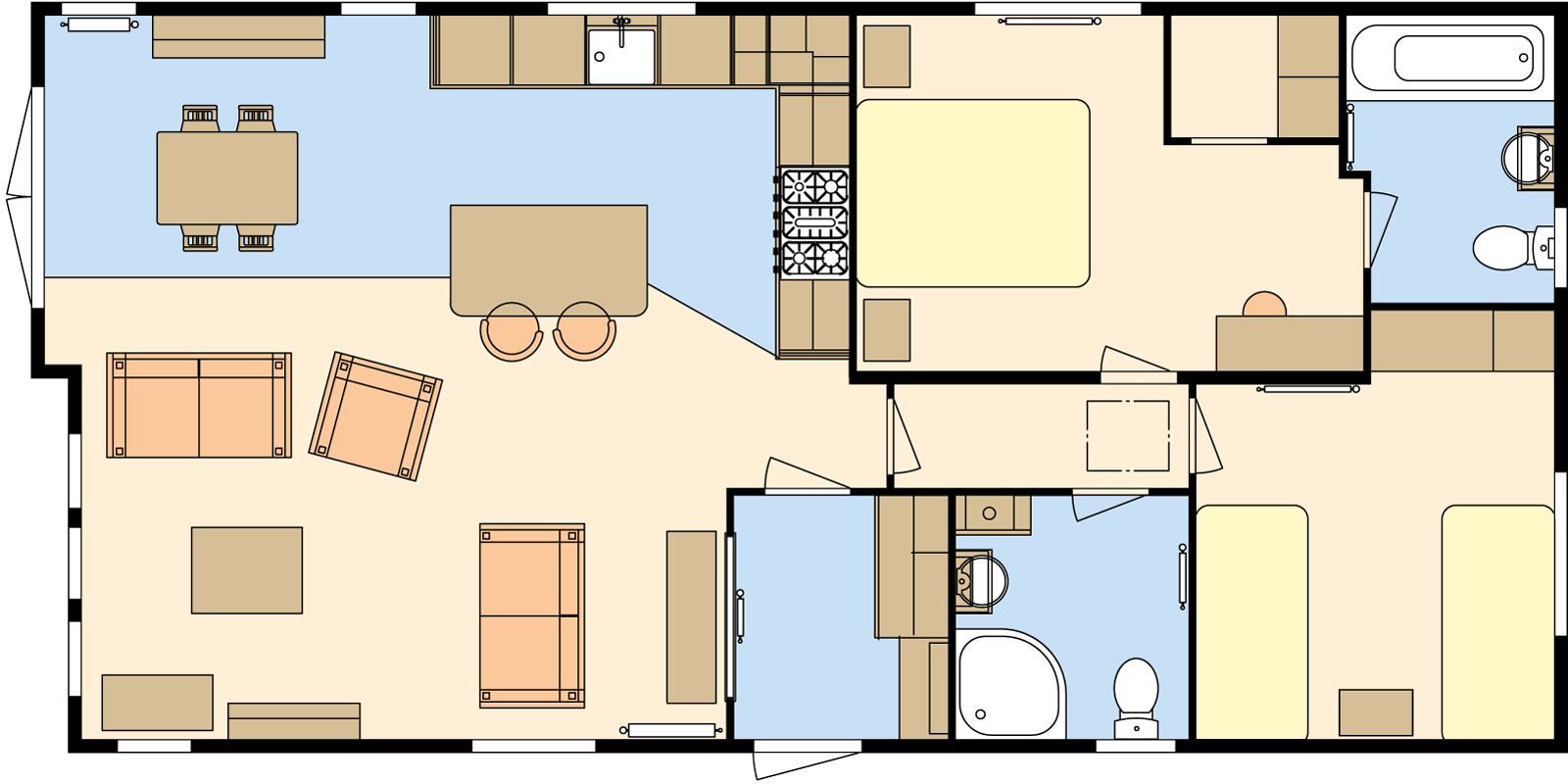 40 × 20 – 2 bedroom/4 berth