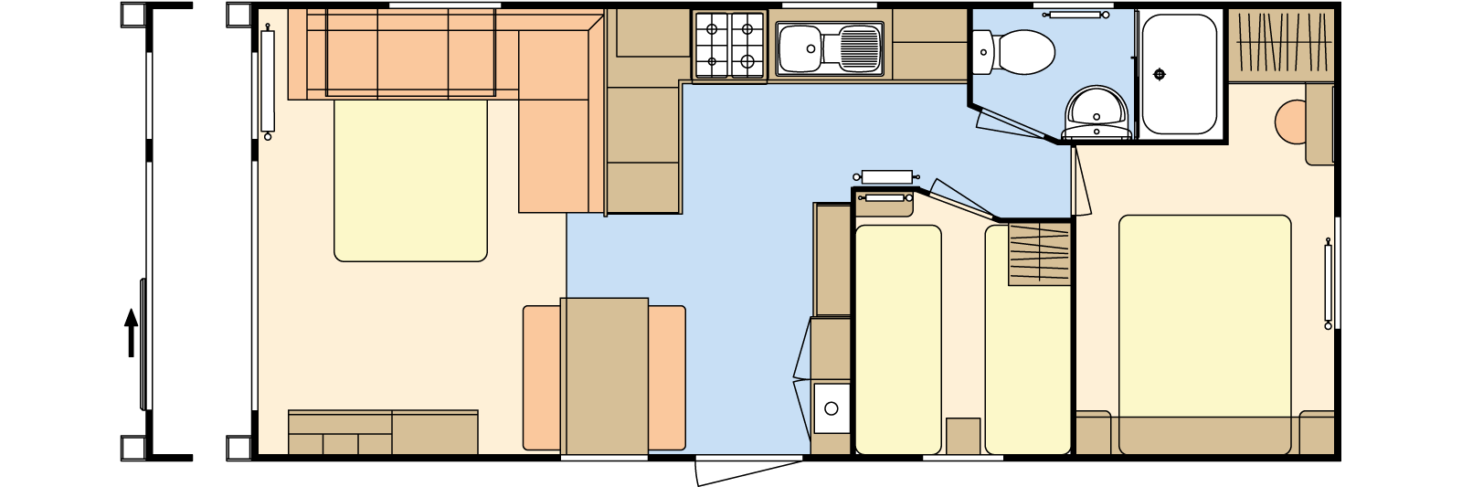 28 × 12 – 2 bedroom/6 berth